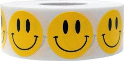 InStockLabels.com Smiley Face Stickers Yellow Happy Face Labels For Teachers 1 Inch Round Circle Dots 500 Adhesive Stickers