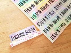 48 Long Silver Hologram -waterproof Name Stickers- Daycare Labels- School Labels- Long Rectangle Labels