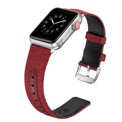 Secbolt Compatible Apple Watch Band 42MM 44MM Canvas Fabric Bands With Genuine Leather Strap Iwatch Nike+ Series 4 Series 3 Series 2 Series 1 Sport Edition Wine Red 42 44MM