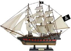 """USA Handcrafted Nautical Decor Wooden Captain Kidd's Black Falcon White Sails Limited Model Pirate Ship 26"""""""