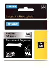 """Dymo Industrial Permanent Labels For Labelwriter And Industrial Rhinopro Label Makers Black On Metallic 3 8"""" 1 Roll 18485"""