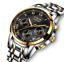 8526033d33 Tamlee Luxury Watches Men Quartz Analog Waterproof Chronograph Date Men's  Stainless Steel Wrist Watch Gold