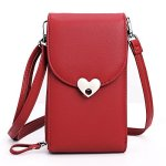 DXLT Small Crossbody Bag Messenger Bag Wallet Case Cell Phone Purse Wallet Cellphone Pouch Roomy Pockets For Women RED-1 Univers