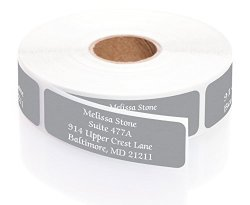 Artistic Labels Gray Colored Personalized Address Labels With White Print And Elegant Plastic Dispenser - Roll Of 250