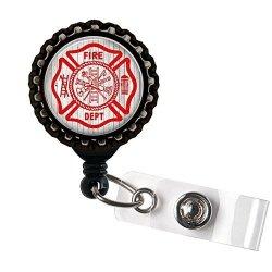 Firefighter Love - Resin Paramedic - Black Retractable Badge Reel Id Holder
