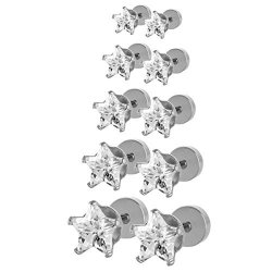4008517ac JewelrieShop Assorted Sizes Shiny Cubic Zirconia Star Front Hypoallergenic  Flat Back Screw Stud Earrings