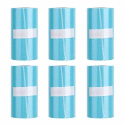 Ashata Thermal Printer Paper 6 Rolls Blue 57X30MM Thermal Paper Self-adhesive Thermal Printing Receipt Paper Thermal Paper Sticker For A6 Peripage Thermal Printers And