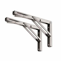 """Yumore Folding Shelf Brackets 16"""" Max Load: 330LB Heavy Duty Stainless Steel Collapsible Shelf Bracket For Table Work Bench Space Saving Diy Bracket Pack Of 2"""