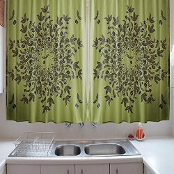 Ofl Kitchen Curtains Olive Green