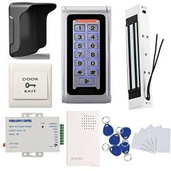 Waterproof Metal Rfid Keypad Door Entry Systems & 350LBS Electric Magnetic Lock+rain Sheild +110V Power Supply+push To Exit Butt