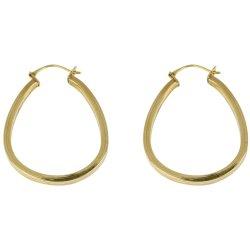 BONDED GOLD - 2X2 Sqr Tube Teardrop Hoop Earring