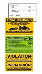 """The Linton Company Parking Violation - Warning Stickers 3 Most Popular Adhesive 5"""" X 8"""" Labels In Fluorescent Green And Orange - 3 Varieties 10 Each 30 Stickers"""