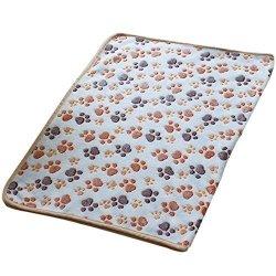 Shuohu Cute Pet Dog Puppy Warm Paw Print Fleece Soft Blanket Bed Mat - White S