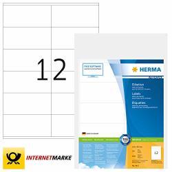 Herma Self Adhesive Multi-purpose Labels 12 Labels Per A4 Sheet 6000 Labels For Laser And Inkjet Printers 105 X 48 Mm 4417