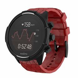 Ancool Compatible With Suunto 9 Baro suunto Spartan Band Soft Silicone Strap Replacement Wristbands For Suunto Gps Smart Watch -red