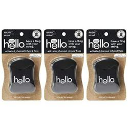 Hello Oral Care Activated Charcoal Infused Floss Vegan Wax Natural Peppermint Flavor 3 Count