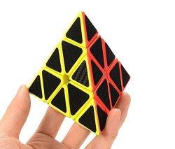 Cuberspeed Phantom Pyramid Stickerless With Black Carbon Fiber Stickers Magic Cube Pyraminx Carbon Fiber Sticker Twisty Puzzle