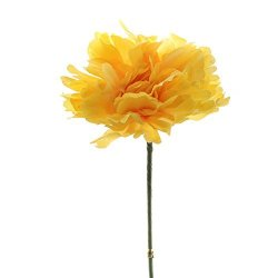 Factory Direct Craft Bulk Buy Of 24 Sunny Yellow Polyester Carnation Stems With Soft Gypsophilia Accent