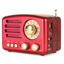 M-160BT Retro Bluetooth Speaker Portable Am fm shortwave Rechargeable Radio Supports Tf Card aux usb MP3 Player By Prunus Red