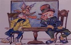 "Chuck Jones Western Scene""stare Down""- Bugs Bunny And Elmer Fudd Ltd Print Matted To 8"" X 10"" Bugs Bunny Daffy Duck Porky Pig Elmer"