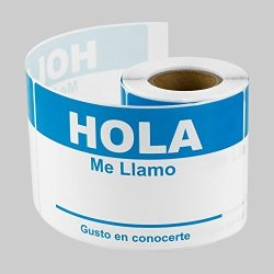 "TUCO DEALS - 2.31"" X 4"" Hola Me Llamo Nombre Name Badges Stickers Labels 100 Labels Per Roll - Blue"