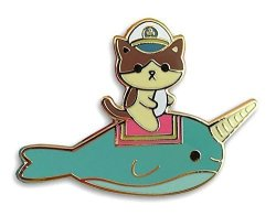 Admiral Whiskers Narwhal Ride Enamel Pin By 100% Soft