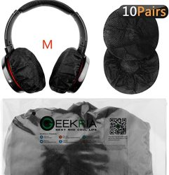 Stretchable Headphone Covers disposable Sanitary Earcup Earpad Covers Fits Medium large-sized Headset 20 Pcs 10 Pairs Black