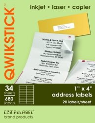 Continental Data Label Qwikstik By Compulabel Mailing Labels For Laser And Inkjet Printers 1 X 4 Inches White 34 Sheets Per Box 20 Labels Per Sheet 320095