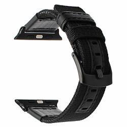 For Apple Watch Band Woven Nylon Watchband Genuine Leather Sport Strap Replacement Bands For Iwatch Series 3 2 1 All Models Black 42MM