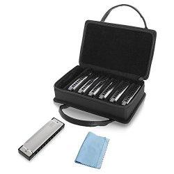 Sound Around Pyle Professional Stainless Steel Metal 10 Hole 7 Piece Diatonic Harmonica Kit - Blues Harp Set Includes Storage Case And Polishing Cloth - Key
