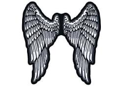 """Lethal Threat LT30159 Angel Wings Embroidered Patch 11"""" X 11.5"""" Black white"""