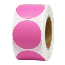 Hcode Colorful Circle Stickers Round Adhesive Dots Labels Color Coding Label Writable And Printable Thermal Transfer Labels 500 Pieces Per Roll Pink