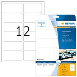 Herma Self Adhesive Glossy Paper Labels 12 Labels Per A4 Sheet 300 Labels For Laser Printers 88.9 X 46.6 Mm 4906