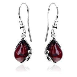 Ian And Valeri Co. Cherry Amber Sterling Silver Fishhook Earrings