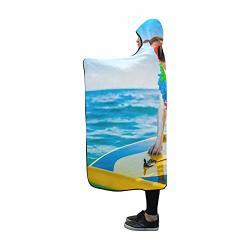 Yumoing Hooded Blanket Dog Surfing On Surfboard Wearing Flower Blanket 60X50 Inch Comfotable Hooded Throw Wrap