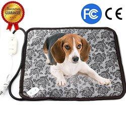 RIOGOO Dog Cat Electric Heating Pad Pet Heating Pad Indoor Waterproof Adjustable Warming Mat With Chew Resistant Steel Cord 17.8