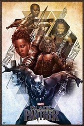 "POSTER STOP ONLINE Black Panther - Framed Marvel Movie Poster Print Character Collage Size: 24"" X 36"" By"