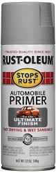 RUST-OLEUM 2081830 Stops Rust Automotive Primer Spray Paint 12 Oz Flat Light Gray