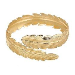HOMEYU Fashion Gold Tone Swirl Leaf Upper Arm Bracelet Armlet Cuff Bangle Armband Adjustable Arm Ring
