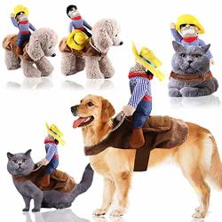Futurelove ? Pet Dog Costume Cowboy Knight Rider Style Clothes Knight Style With Doll And Hat Horse Riding For Halloween christmas holiday Day near Year Gifts For