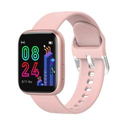 P4 1.4 Inch Full Circle Full Touch Silicone Strap Smart Sport Watch IP67 Waterproof Support Real-time Heart Rate Monitoring Sleep Monitoring Bluetooth Alarm Clock Pink