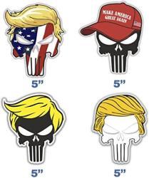 USA Set Of 4 Trump Punisher Sticker For Car Window Laptop Auto Truck Vinyl Donald Trump Decal Jeep Motorcycle Helmet 5
