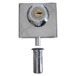 """Polished Stainless Slip-on Lock For 3 8"""" Glass"""