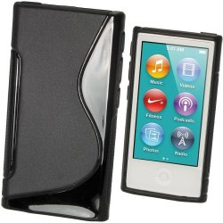 Igadgitz Dual Tone Black Durable Crystal Gel Skin Tpu Case Cover For Apple Ipod Nano 7TH Generation 7G 16GB + Screen Protector