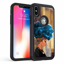 "Iphone Xr Case Rossy Heavy Duty Hybrid Tpu Plastic Dual Layer Armor Defender Protection Case Cover For Apple Iphone Xr 6.1"" 2018 African Women With Blue Hair"