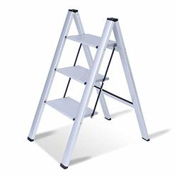 Karmas Product Folding 3 Step Ladder 2-IN-1 Lightweight Aluminum Step Ladder Multi-use Step Stool With Anti-slip Wide Pedal