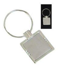 Square Silver Keyring Stripe Without Logo Plate