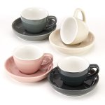 Espresso Cups And Saucers By Easy Living Goods - 3-OUNCE Demitasse For Coffee Set Of 4 Assorted Colors Modern