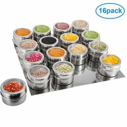 16 Magnetic Spice Jars Ruckae Spice Containers With Metal Wall Base Storage Containers With Clear Lid