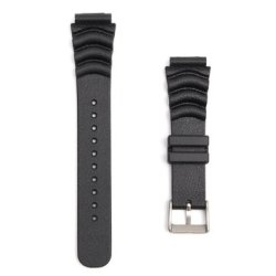 20MM 22MM BLACK Sport Scuba Diver Rubber Watch Band Strap